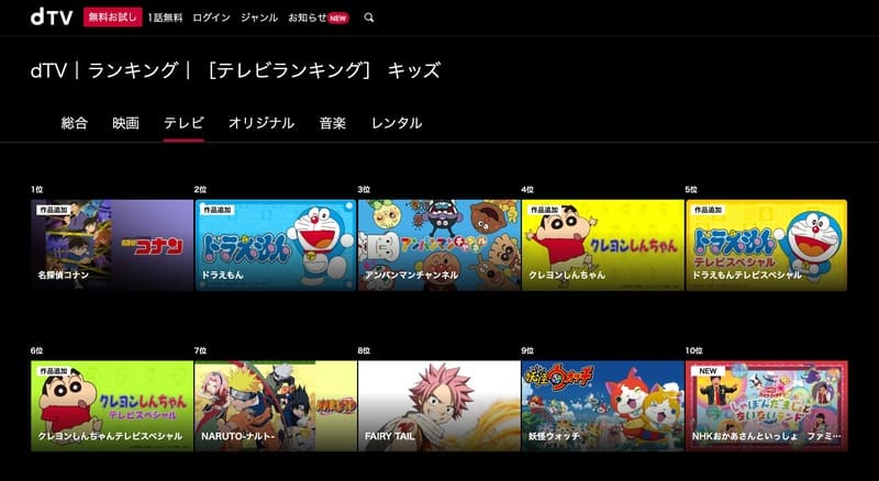dTVキッズアニメ